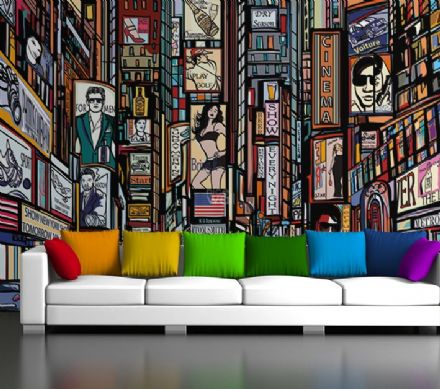 New York skyline wall wallpaper cartoon style